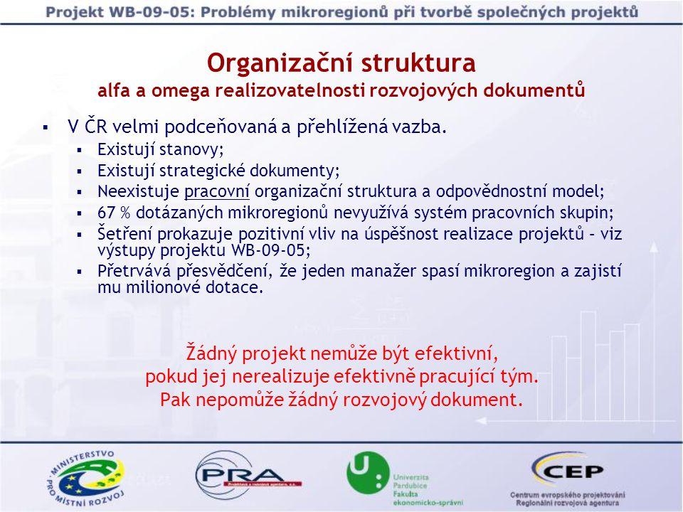 Organizační struktura alfa a omega realizovatelnosti rozvojových dokumentů  V ČR velmi podceňovaná a přehlížená vazba.