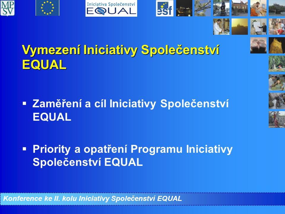 Priority a opatření CIP EQUAL (1)  Vyjadřují zaměření Programu – strategii realizace  Priority odpovídají původním čtyřem pilířům Evropské strategie zaměstnanosti, pátá priorita je zaměřená na žadatele o azyl, šestá na technickou podporu Programu  Opatřeními jsou tématické oblasti, nicméně v CIP EQUAL ČR připadají na každou tématickou oblast 2 opatření z důvodu nutnosti odlišně spolufinancovat aktivity v rámci území hl.m.