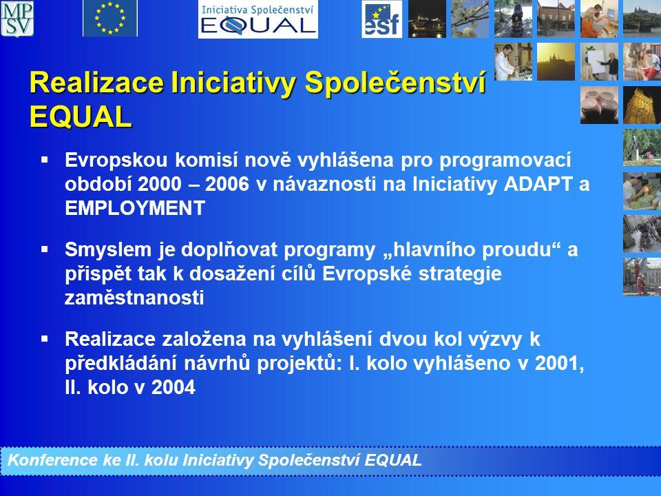 """Realizace Iniciativy Společenství EQUAL  Evropskou komisí nově vyhlášena pro programovací období 2000 – 2006 v návaznosti na Iniciativy ADAPT a EMPLOYMENT  Smyslem je doplňovat programy """"hlavního proudu a přispět tak k dosažení cílů Evropské strategie zaměstnanosti  Realizace založena na vyhlášení dvou kol výzvy k předkládání návrhů projektů: I."""