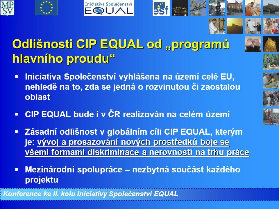 """Odlišnosti CIP EQUAL od """"programů hlavního proudu  Iniciativa Společenství vyhlášena na území celé EU, nehledě na to, zda se jedná o rozvinutou či zaostalou oblast  CIP EQUAL bude i v ČR realizován na celém území vývoj a prosazování nových prostředků boje se všemi formami diskriminace a nerovností na trhu práce  Zásadní odlišnost v globálním cíli CIP EQUAL, kterým je: vývoj a prosazování nových prostředků boje se všemi formami diskriminace a nerovností na trhu práce  Mezinárodní spolupráce – nezbytná součást každého projektu Konference ke II."""