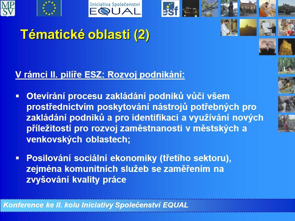 Tématické oblasti (2) V rámci II.