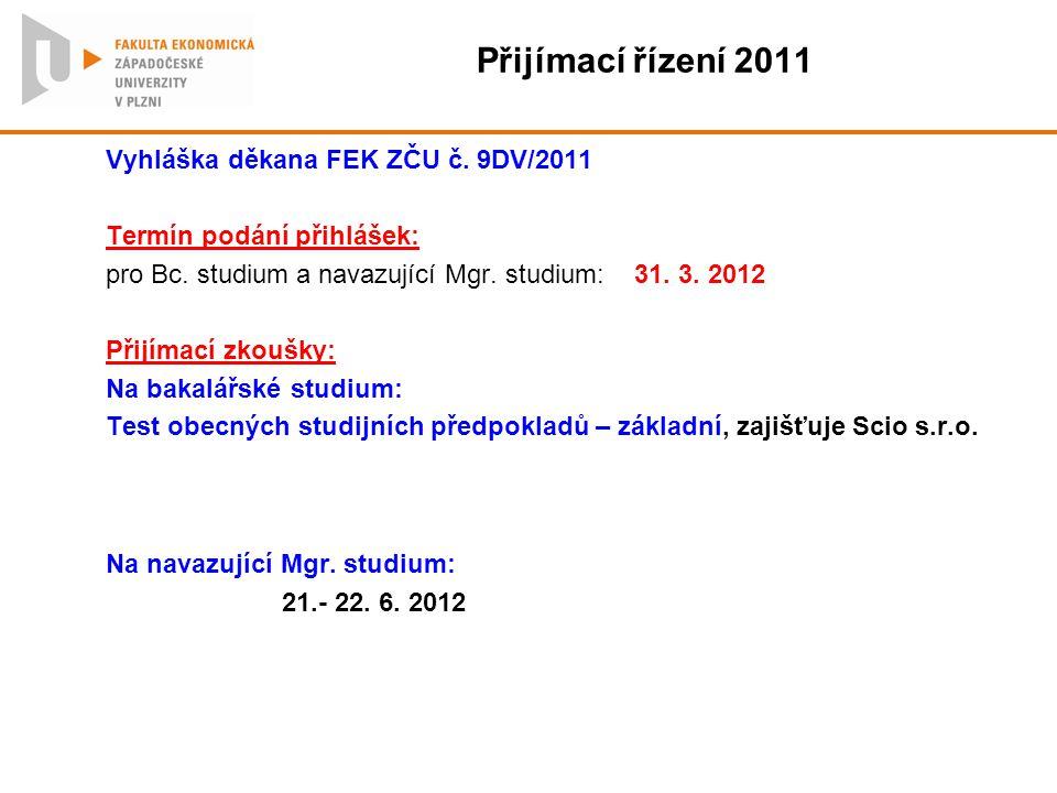 Přijímací řízení 2011 Vyhláška děkana FEK ZČU č. 9DV/2011 Termín podání přihlášek: pro Bc. studium a navazující Mgr. studium: 31. 3. 2012 Přijímací zk