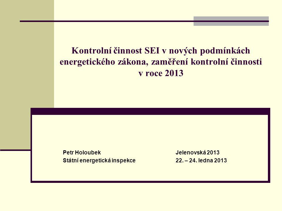 Kontrolní činnost SEI v nových podmínkách energetického zákona, zaměření kontrolní činnosti v roce 2013 Petr HoloubekJelenovská 2013 Státní energetick