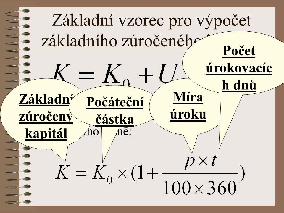 Základní vzorec pro výpočet základního zúročeného kapitálu Po vložení celého vzorce se z původního stane: Základní zúročený kapitál Počáteční částka Míra úroku Počet úrokovacíc h dnů