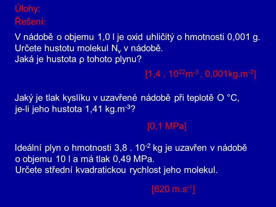 Pro střední hodnotu tlaku lze odvodit rovnici: kde, ρ je hustota plynu a v k je střední kvadratická rychlost kde je hustota částic