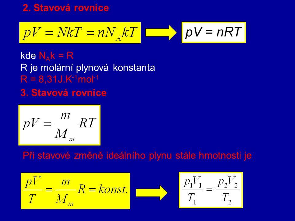 5. Stavová rovnice pro ideální plyn Plyn, který je v rovnovážném stavu, lze charakterizovat stavovými veličinami: termodynamickou teplotou T, tlakem p