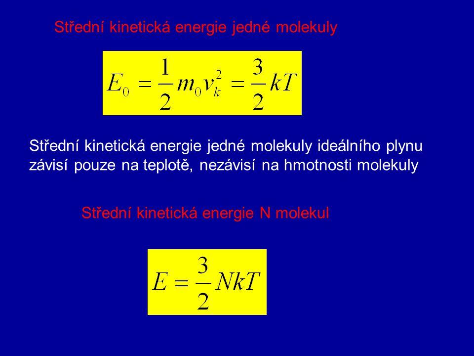 3. Střední kvadratická rychlost Okamžitá rychlost je náhodná a stále se měnící veličina, proto se zavádí statisticky zpracovaná tzv. střední kvadratic