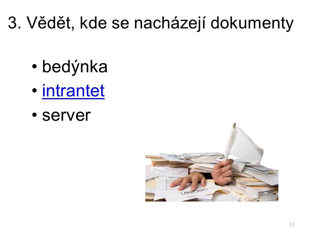 3. Vědět, kde se nacházejí dokumenty bedýnka intrantet server 13
