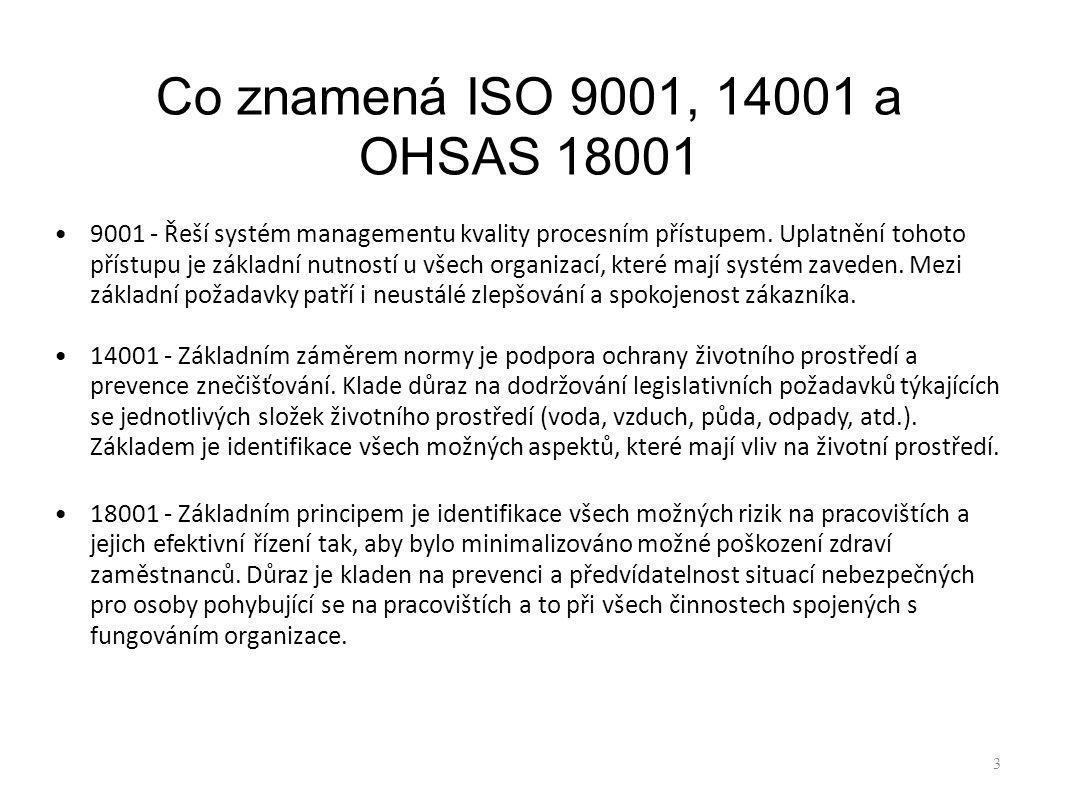 Co znamená ISO 9001, 14001 a OHSAS 18001 9001 - Řeší systém managementu kvality procesním přístupem. Uplatnění tohoto přístupu je základní nutností u