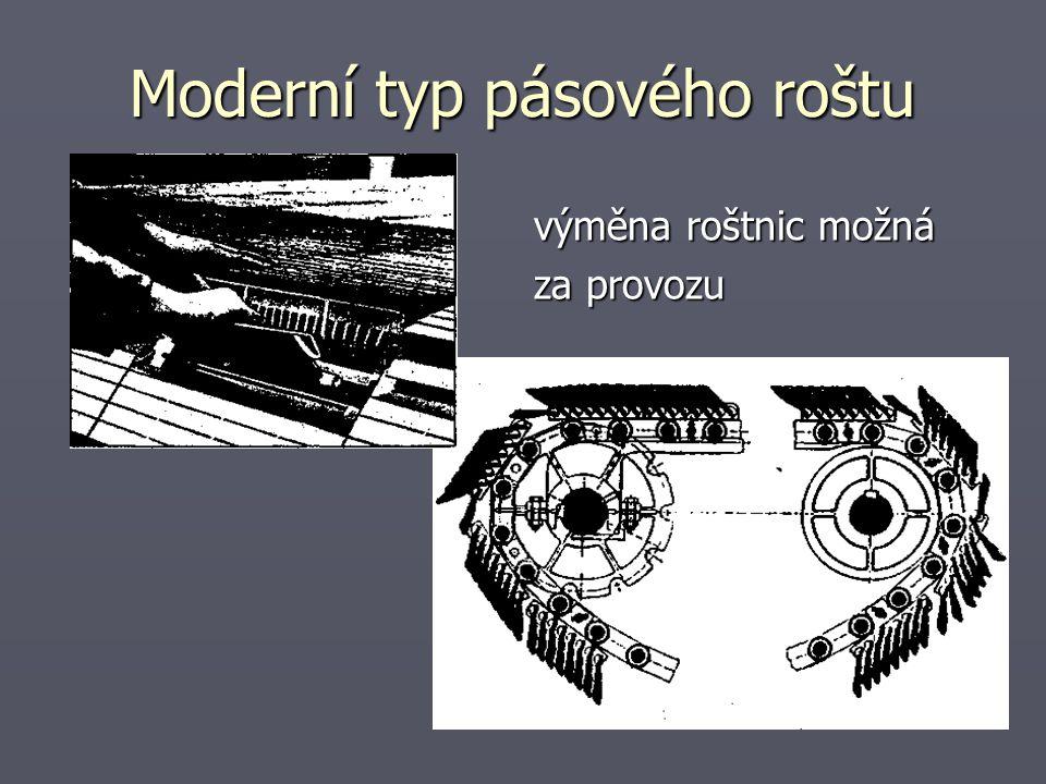 Moderní typ pásového roštu výměna roštnic možná za provozu