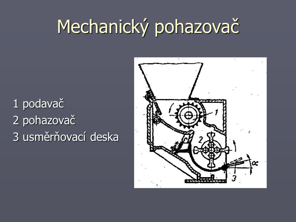 Mechanický pohazovač 1 podavač 2 pohazovač 3 usměrňovací deska