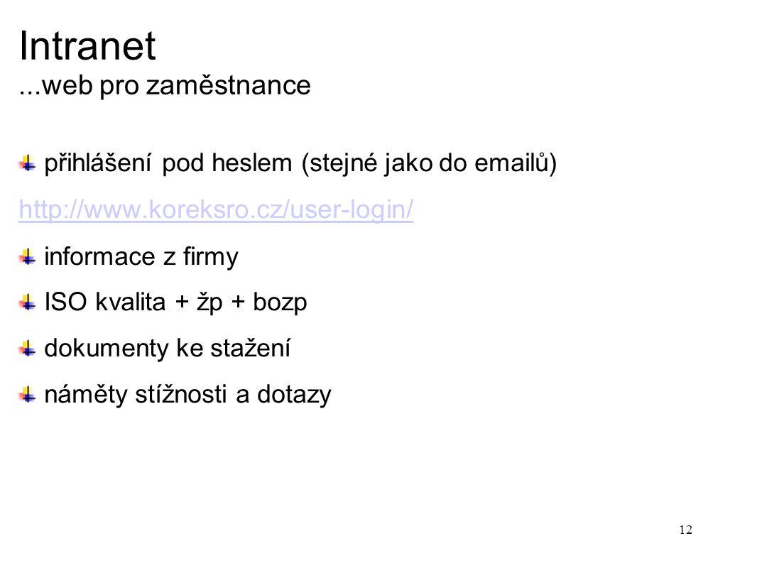 Intranet...web pro zaměstnance přihlášení pod heslem (stejné jako do emailů) http://www.koreksro.cz/user-login/ informace z firmy ISO kvalita + žp + bozp dokumenty ke stažení náměty stížnosti a dotazy 12