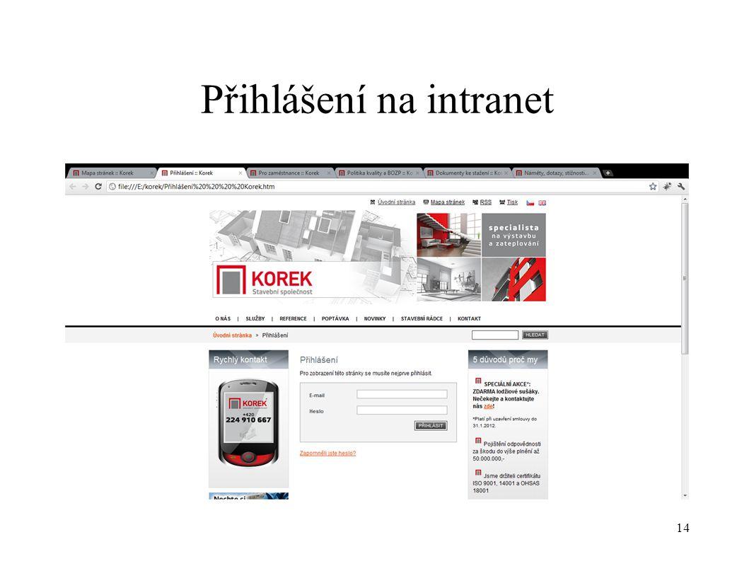 Přihlášení na intranet 14