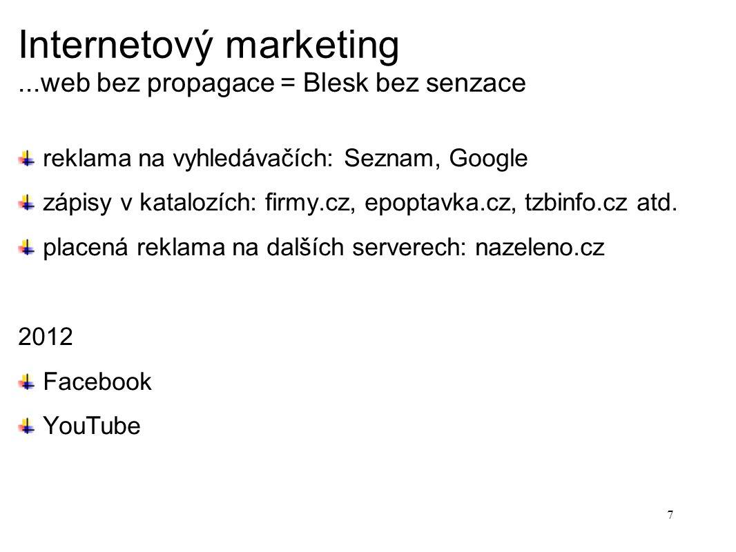 Internetový marketing...web bez propagace = Blesk bez senzace reklama na vyhledávačích: Seznam, Google zápisy v katalozích: firmy.cz, epoptavka.cz, tzbinfo.cz atd.