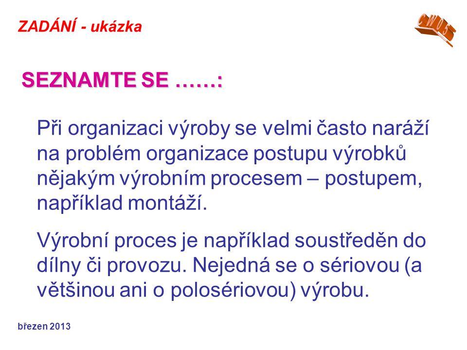 ZADÁNÍ - ukázka březen 2013 Při organizaci výroby se velmi často naráží na problém organizace postupu výrobků nějakým výrobním procesem – postupem, například montáží.