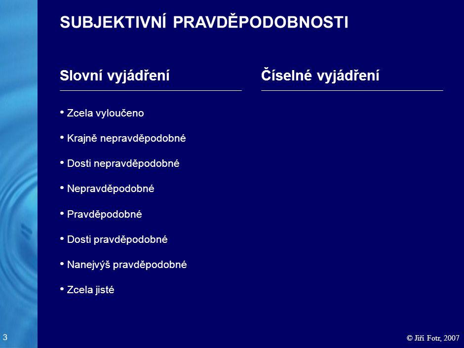 3 © Jiří Fotr, 2007 SUBJEKTIVNÍ PRAVDĚPODOBNOSTI Slovní vyjádřeníČíselné vyjádření Zcela vyloučeno Krajně nepravděpodobné Dosti nepravděpodobné Neprav