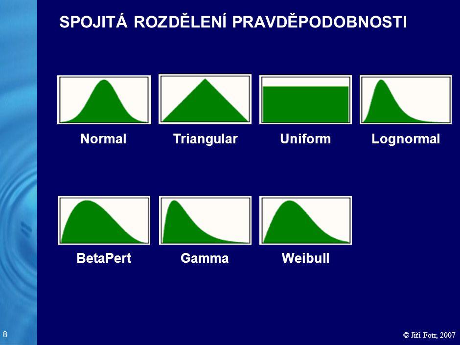 8 © Jiří Fotr, 2007 SPOJITÁ ROZDĚLENÍ PRAVDĚPODOBNOSTI NormalTriangularUniformLognormal BetaPertGammaWeibull