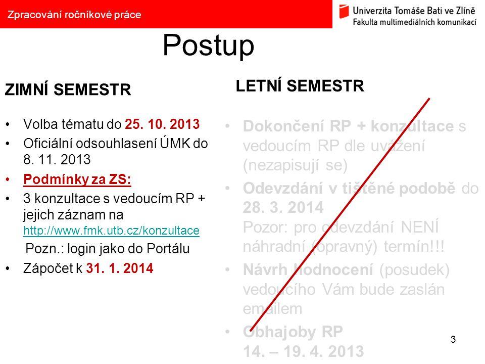 Postup ZIMNÍ SEMESTR Volba tématu do 25. 10. 2013 Oficiální odsouhlasení ÚMK do 8. 11. 2013 Podmínky za ZS: 3 konzultace s vedoucím RP + jejich záznam