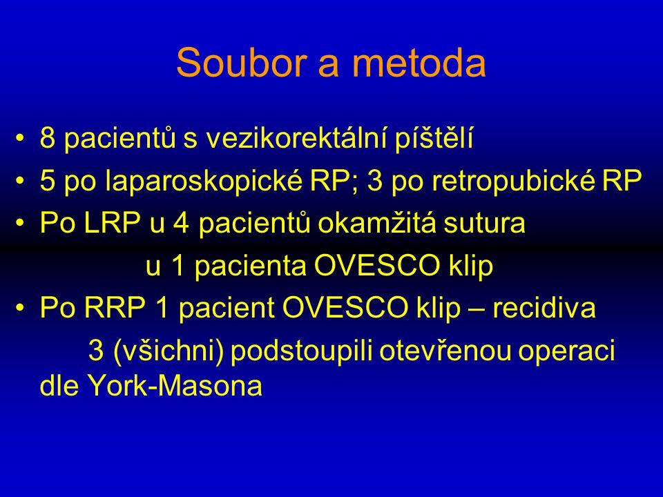 Soubor a metoda 8 pacientů s vezikorektální píštělí 5 po laparoskopické RP; 3 po retropubické RP Po LRP u 4 pacientů okamžitá sutura u 1 pacienta OVES