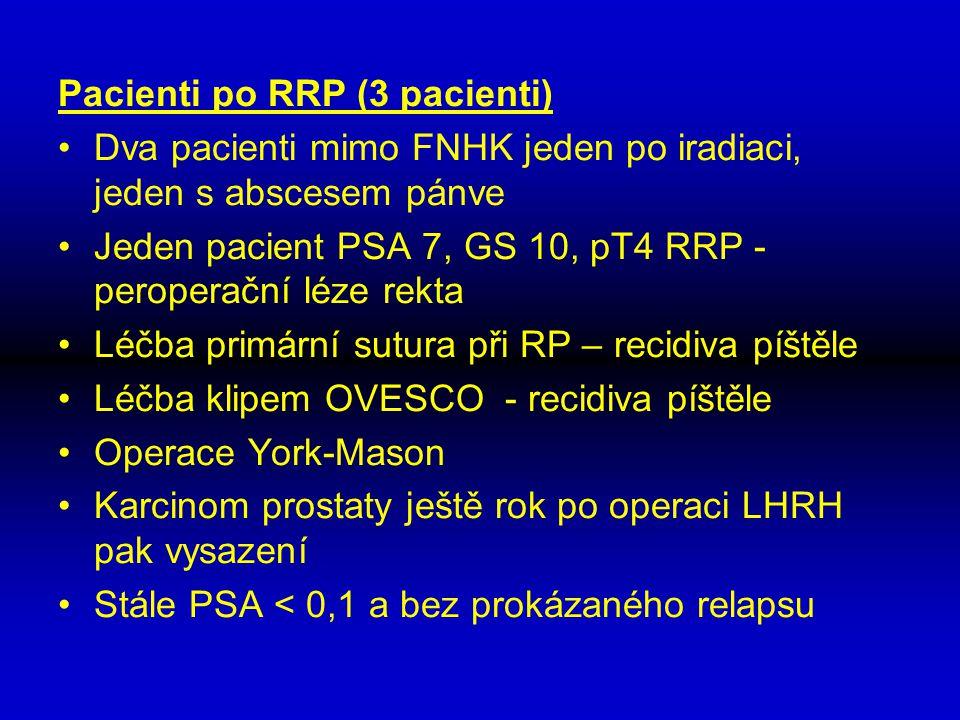 Pacienti po RRP (3 pacienti) Dva pacienti mimo FNHK jeden po iradiaci, jeden s abscesem pánve Jeden pacient PSA 7, GS 10, pT4 RRP - peroperační léze r