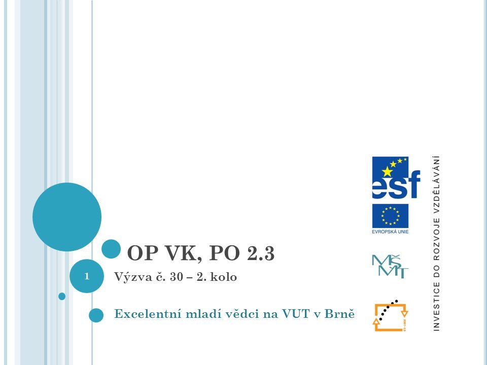 OP VK, PO 2.3 Výzva č. 30 – 2. kolo Excelentní mladí vědci na VUT v Brně 1