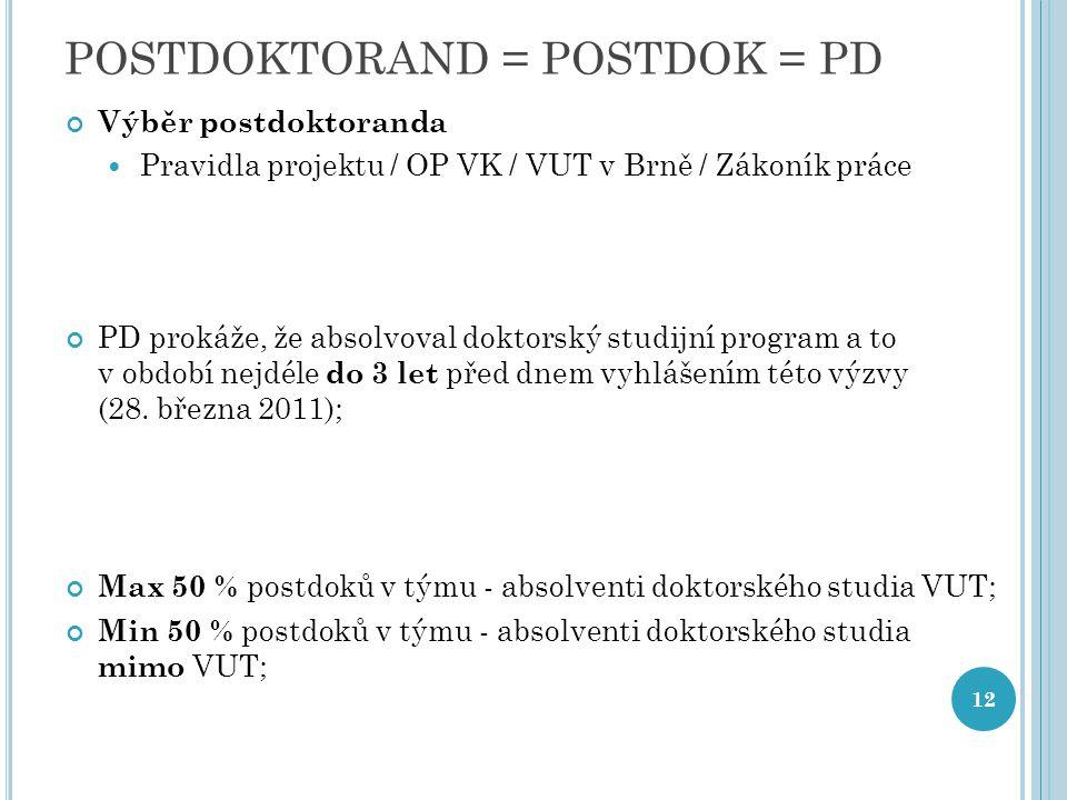 POSTDOKTORAND = POSTDOK = PD Výběr postdoktoranda Pravidla projektu / OP VK / VUT v Brně / Zákoník práce PD prokáže, že absolvoval doktorský studijní