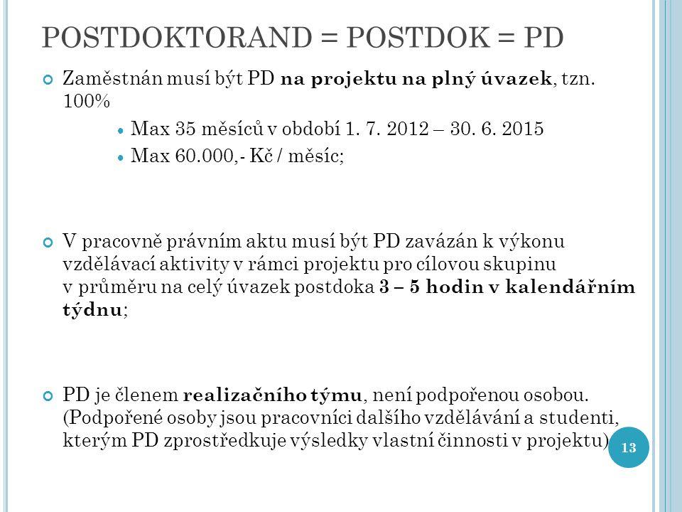 POSTDOKTORAND = POSTDOK = PD Zaměstnán musí být PD na projektu na plný úvazek, tzn. 100%  Max 35 měsíců v období 1. 7. 2012 – 30. 6. 2015  Max 60.00