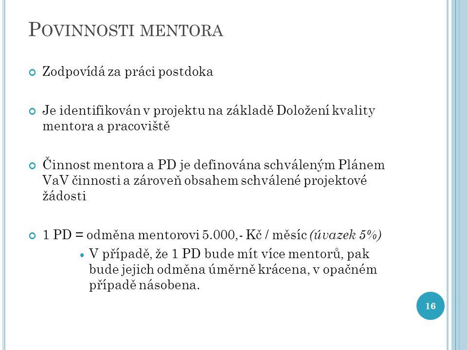P OVINNOSTI MENTORA Zodpovídá za práci postdoka Je identifikován v projektu na základě Doložení kvality mentora a pracoviště Činnost mentora a PD je d