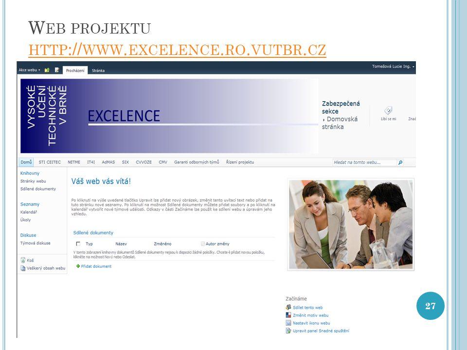 W EB PROJEKTU HTTP :// WWW. EXCELENCE. RO. VUTBR. CZ HTTP :// WWW. EXCELENCE. RO. VUTBR. CZ 27