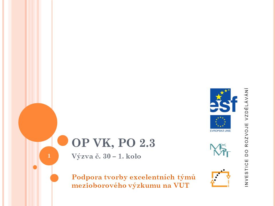 OP VK, PO 2.3 Výzva č. 30 – 1. kolo Podpora tvorby excelentních týmů mezioborového výzkumu na VUT 1
