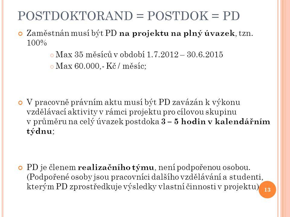POSTDOKTORAND = POSTDOK = PD Zaměstnán musí být PD na projektu na plný úvazek, tzn.
