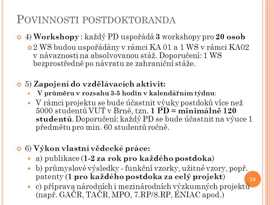 P OVINNOSTI POSTDOKTORANDA 4) Workshopy : každý PD uspořádá 3 workshopy pro 20 osob 2 WS budou uspořádány v rámci KA 01 a 1 WS v rámci KA02 v návaznosti na absolvovanou stáž.