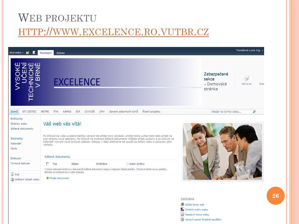 W EB PROJEKTU HTTP :// WWW. EXCELENCE. RO. VUTBR. CZ HTTP :// WWW. EXCELENCE. RO. VUTBR. CZ 26