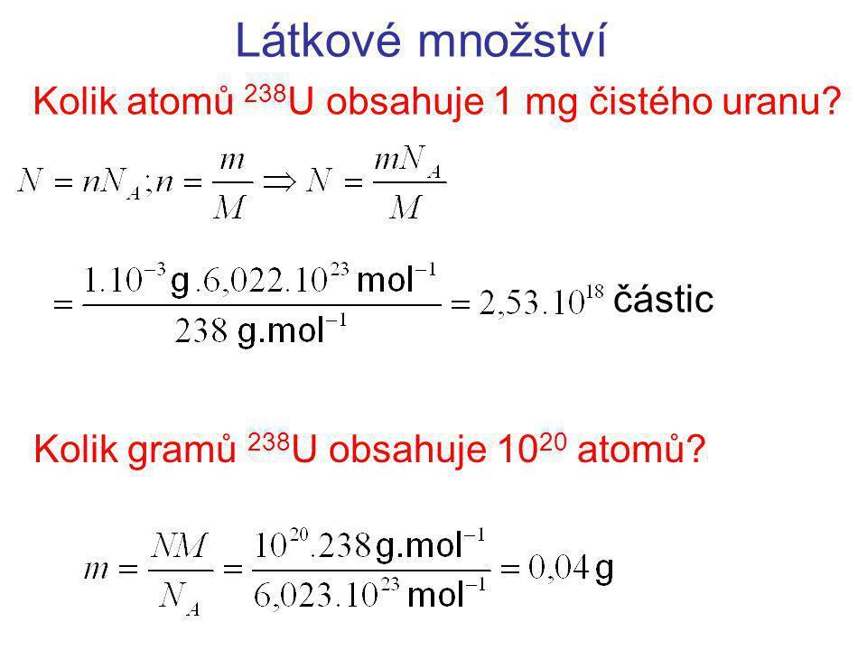 Látkové množství Kolik atomů 238 U obsahuje 1 mg čistého uranu.