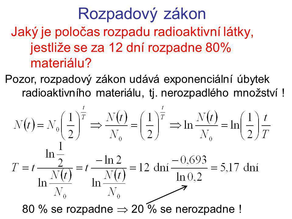 Rozpadový zákon Jaký je poločas rozpadu radioaktivní látky, jestliže se za 12 dní rozpadne 80% materiálu.
