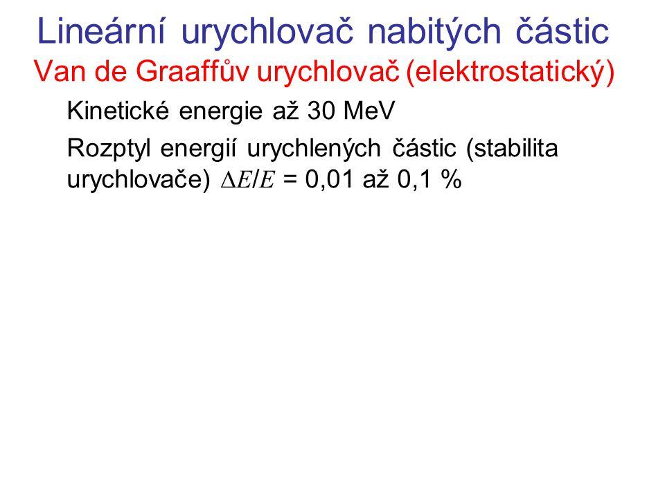 Lineární urychlovač nabitých částic Van de Graaffův urychlovač (elektrostatický) Kinetické energie až 30 MeV Rozptyl energií urychlených částic (stabi
