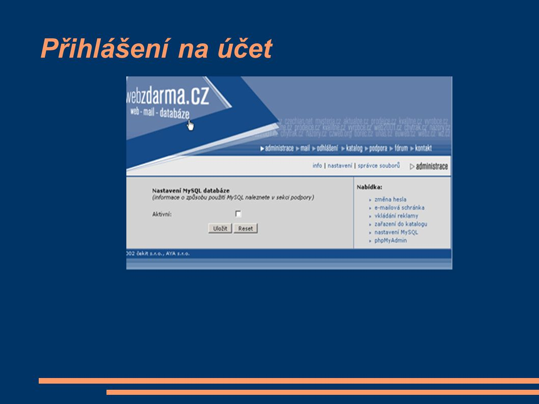 Přihlášení na účet