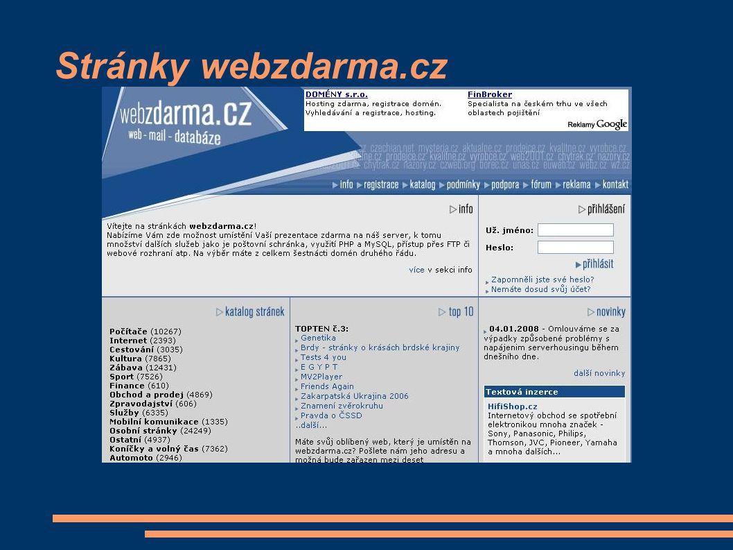 Stránky webzdarma.cz