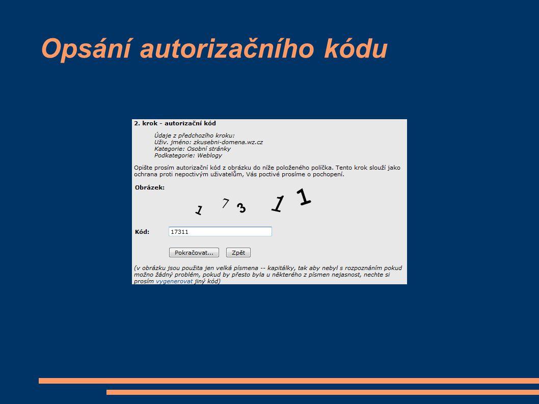 Opsání autorizačního kódu