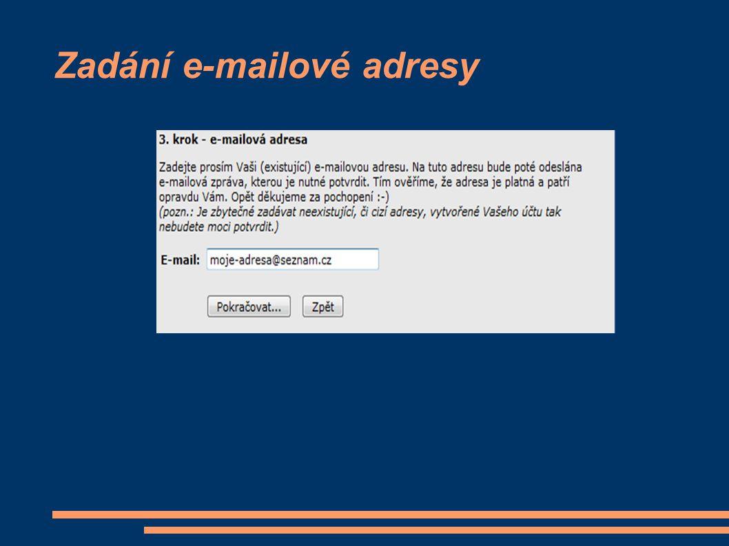 Zadání e-mailové adresy