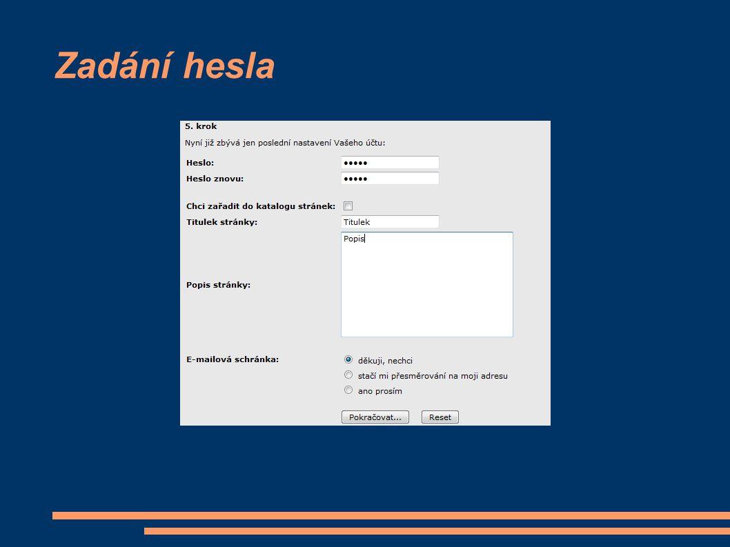 Zadání hesla
