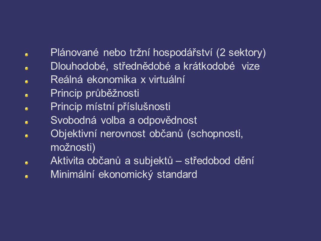 Plánované nebo tržní hospodářství (2 sektory) Dlouhodobé, střednědobé a krátkodobé vize Reálná ekonomika x virtuální Princip průběžnosti Princip místn