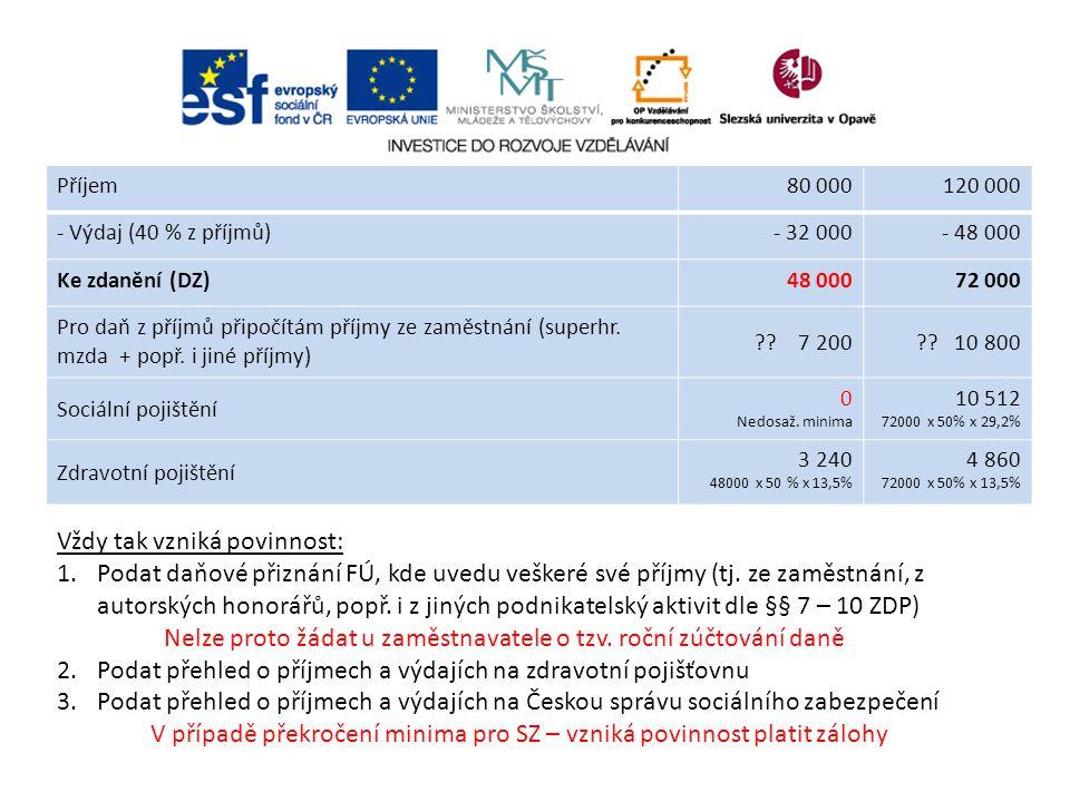 Příjem80 000120 000 - Výdaj (40 % z příjmů)- 32 000- 48 000 Ke zdanění (DZ)48 00072 000 Pro daň z příjmů připočítám příjmy ze zaměstnání (superhr. mzd