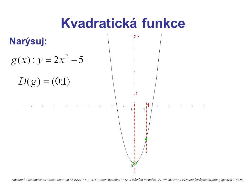 Kvadratická funkce Narýsuj: odpověz na otázky: 1)má fce min nebo max 3) hodnota min nebo max 4) f(4)= ; f(3)= 5) pro která x je fce záporná 6) pro která x je fce záporná a rostoucí 7) pro která x je fce kladná a klesající Dostupné z Metodického portálu www.rvp.cz, ISSN: 1802-4785, financovaného z ESF a státního rozpočtu ČR.