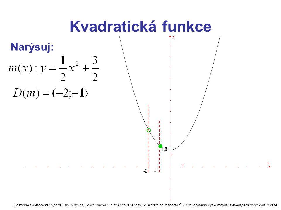 Kvadratická funkce Narýsuj: 1,5 -2. ° Dostupné z Metodického portálu www.rvp.cz, ISSN: 1802-4785, financovaného z ESF a státního rozpočtu ČR. Provozov