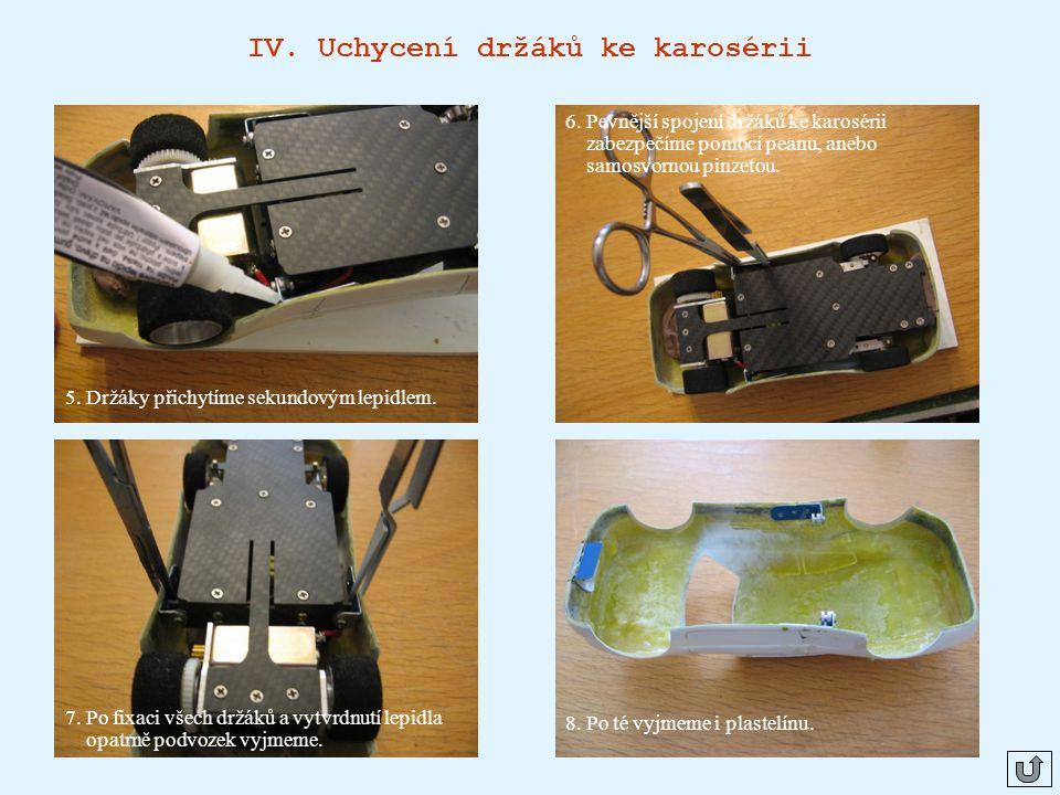 IV.Uchycení držáků ke karosérii 5. Držáky přichytíme sekundovým lepidlem.