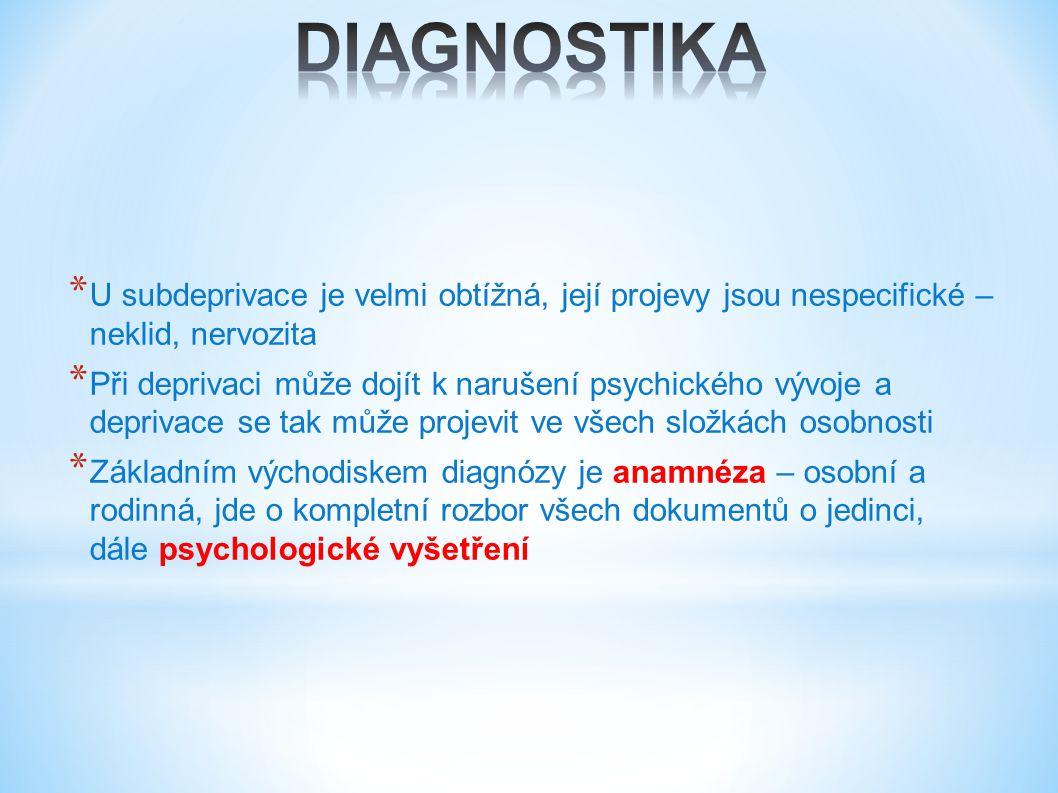 * U subdeprivace je velmi obtížná, její projevy jsou nespecifické – neklid, nervozita * Při deprivaci může dojít k narušení psychického vývoje a deprivace se tak může projevit ve všech složkách osobnosti * Základním východiskem diagnózy je anamnéza – osobní a rodinná, jde o kompletní rozbor všech dokumentů o jedinci, dále psychologické vyšetření