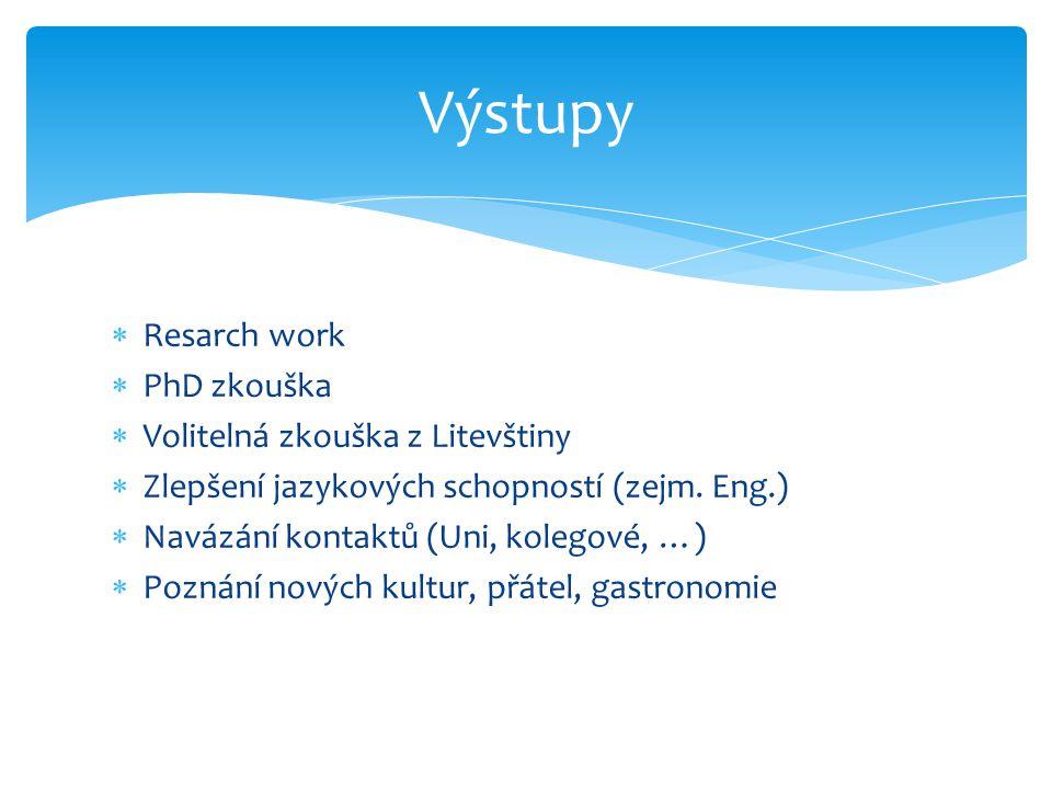  Resarch work  PhD zkouška  Volitelná zkouška z Litevštiny  Zlepšení jazykových schopností (zejm.