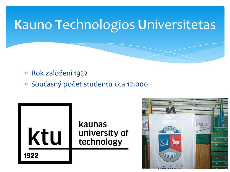  Rok založení 1922  Současný počet studentů cca 12.000 Kauno Technologios Universitetas