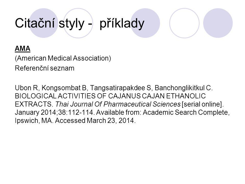 Citační styly - příklady AMA (American Medical Association) Referenční seznam Ubon R, Kongsombat B, Tangsatirapakdee S, Banchonglikitkul C. BIOLOGICAL